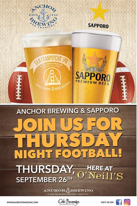 Anchor Brewing & Sapporo Thursday Night Football