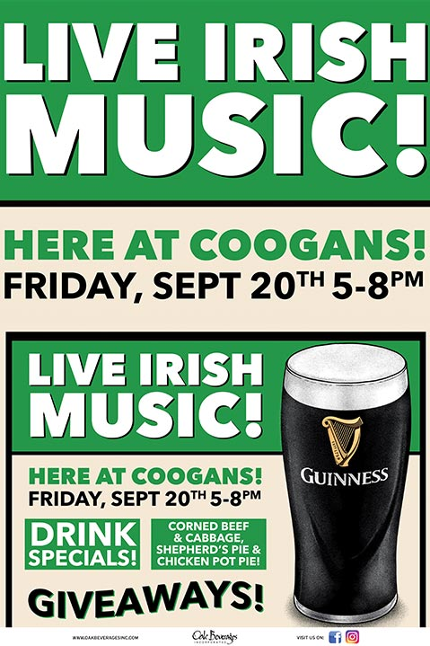 Irish Music Food Guinness and Giveaways at Coogans
