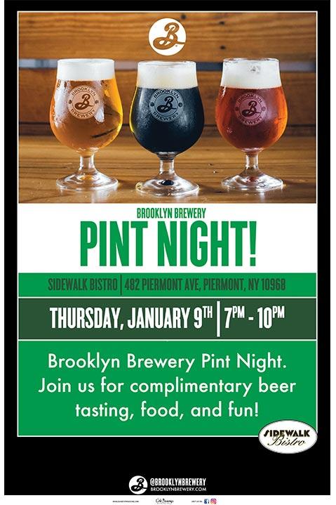 Sidewalk Bistro Brooklyn Brewery Pint Night