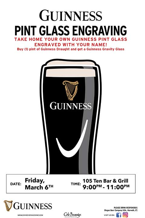 Personalized Guinness Glass at 105-Ten Bar