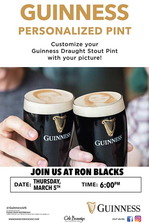 Guinness Stoutie Pints at Ron Blacks