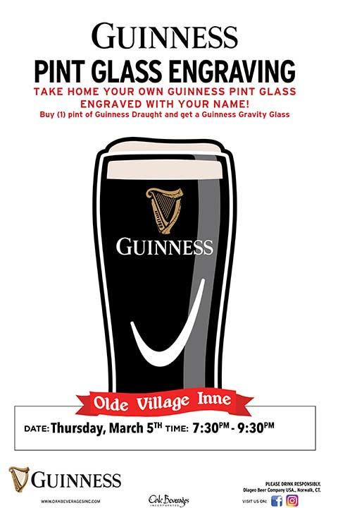 Olde Village Inne Guinness Pint Engraving