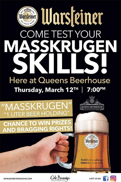 Queens Beerhouse Warsteiner Masskrugen Skills