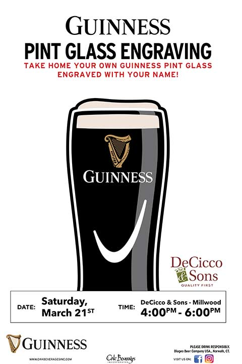 Decicco's of Millwood Guinness Glass Engraving