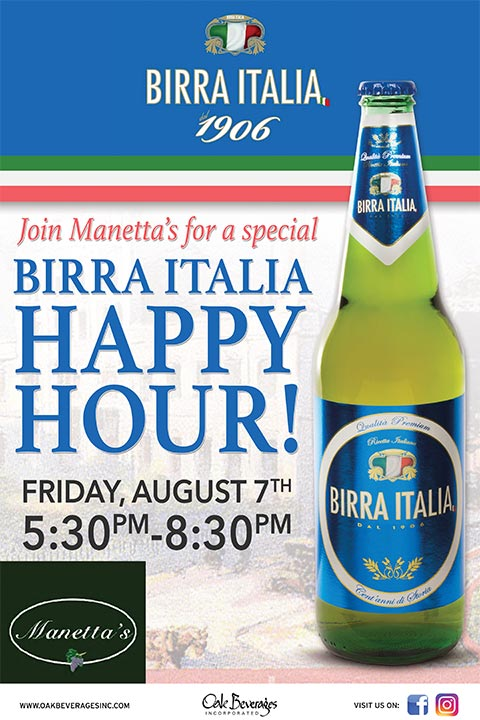 Birra Italia Happy Hour at Manetta's